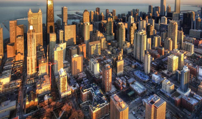 chicago, height, птичий, полет, landscape, urban