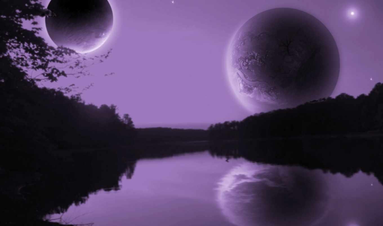 twilight, purple, dual, moons, fantasy, free,