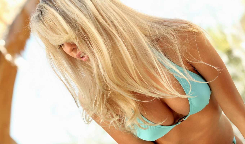 blonde, грудь, купальник, купальнике, bailey, роза, волосы, голубом,