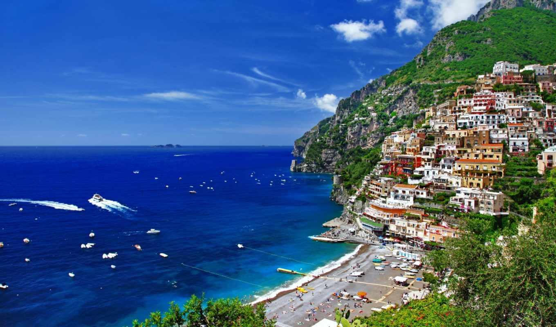 море, italy, дома, города, горы, деревья, природа,