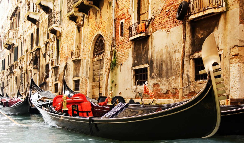 italy, venice, дома, гондолы, канал, окна, water,