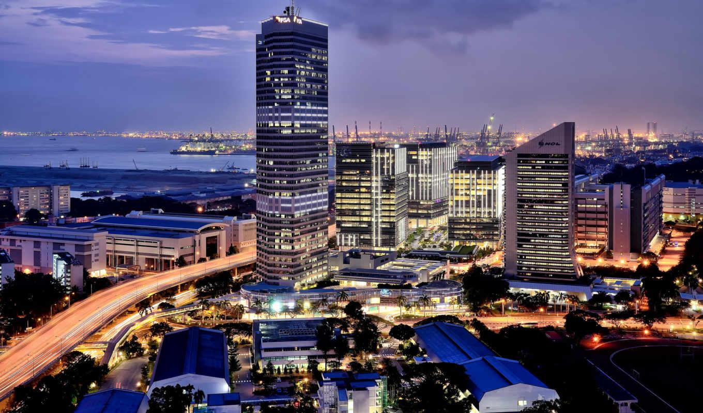 singapore, город, порт, после, огни, заката,