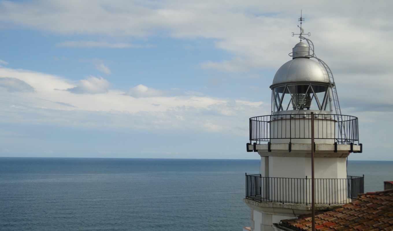 lighthouse, небо, море, дек, faro,