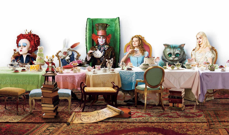 алиса, чудес, стране, hatter, mad, wonderland, чаепитие, offers, кот, кролик,