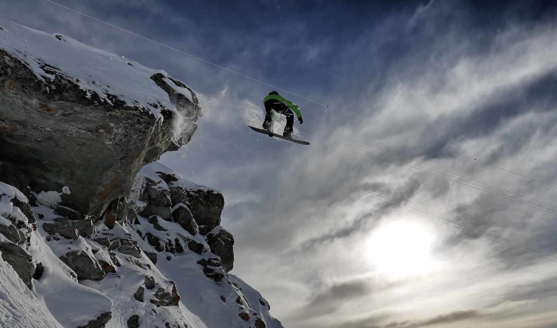 , прыжок, гора, сноуборд
