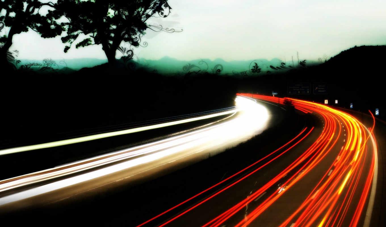 net, дорога, огни, mix, след, прекрасных, трассы,