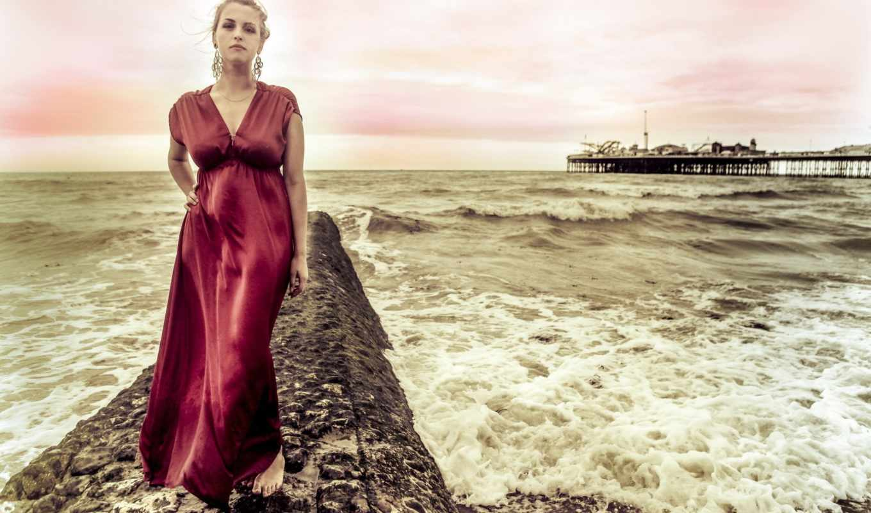 мост, море, девушка, волны,