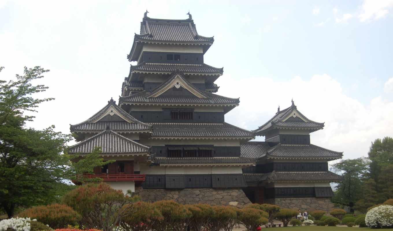 япония, tokyo, замок, castle, взгляд, замки, вечер,