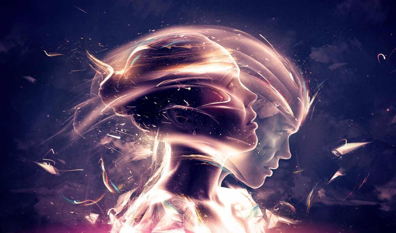 абстракция, девушка, движение, грани, свчение,