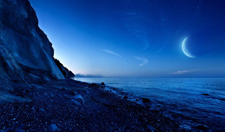 луна, горы, ночь, море, лунная, сумерки, загружено, со, коллекция, лучшая,