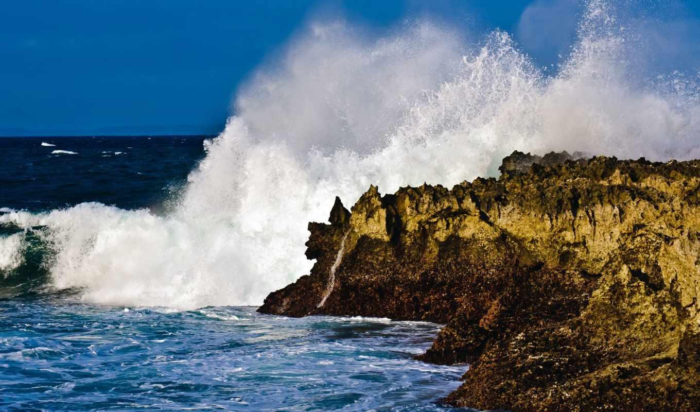 ocean, скалы, берег, природа, живые, waves, oblaka, красивые, волна,