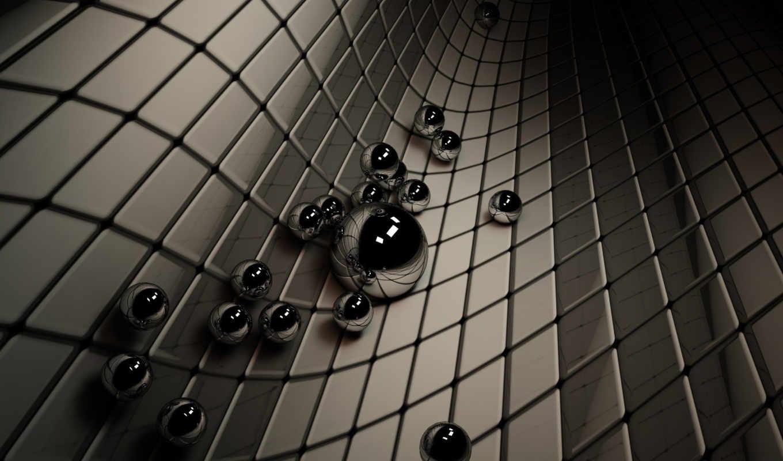 onda, spheres, черный, silver, рендеринг, шарики, background, картинку, графикой, трехмерной,