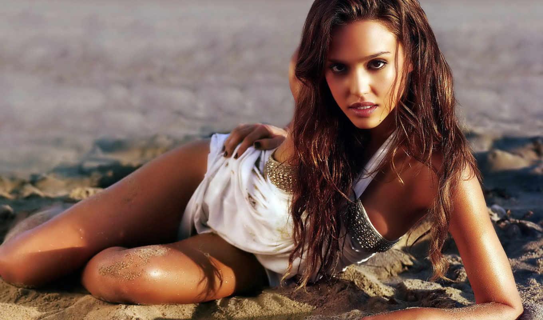 jessica, alba, песок, hot, взгляд, ,