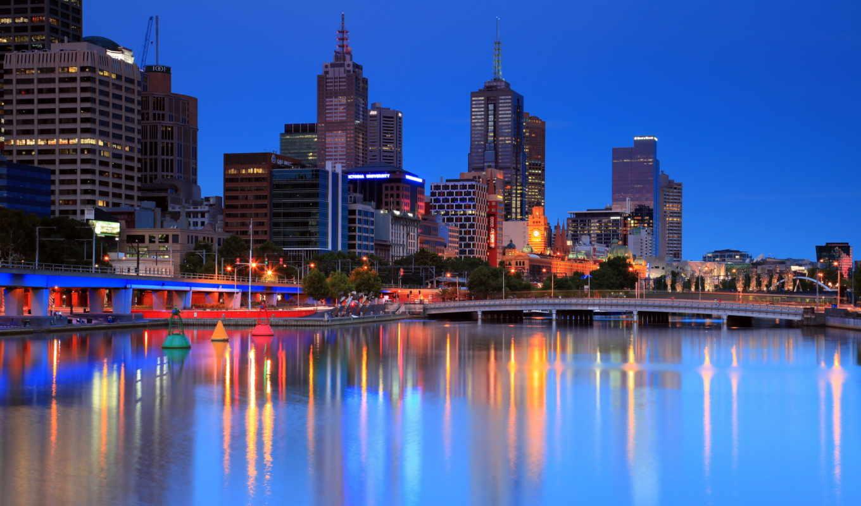melbourne, australia, огни, города, cities, балла,