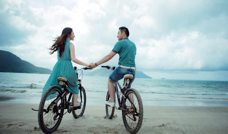 пара, beach, моря, берегу, велосипедах, bicicletas, una, pareja, bicycle, велосипеды, desktop, настроение,