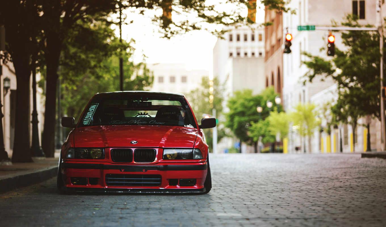 красная, машина, бмв, город, дорога,