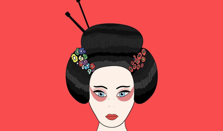 гейша, минимализм, волосы, красный, япония, рисунок,