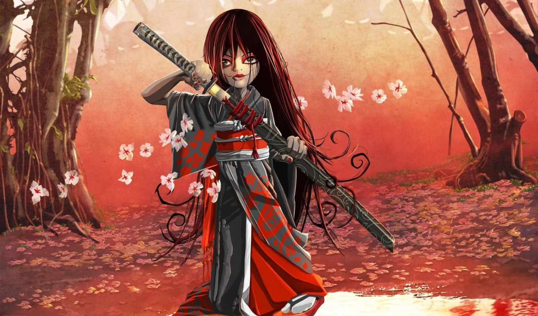 самурай, art, девушка, доспех, девушки, девушек, катана, красивых, подборка,