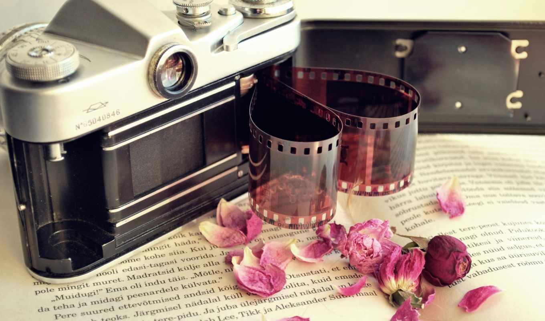 пленка, фотоаппарат, книга, фотопленка, kamera, cvety,