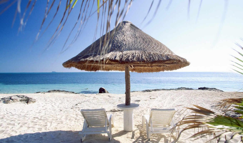 пляж, пальмы, песок,