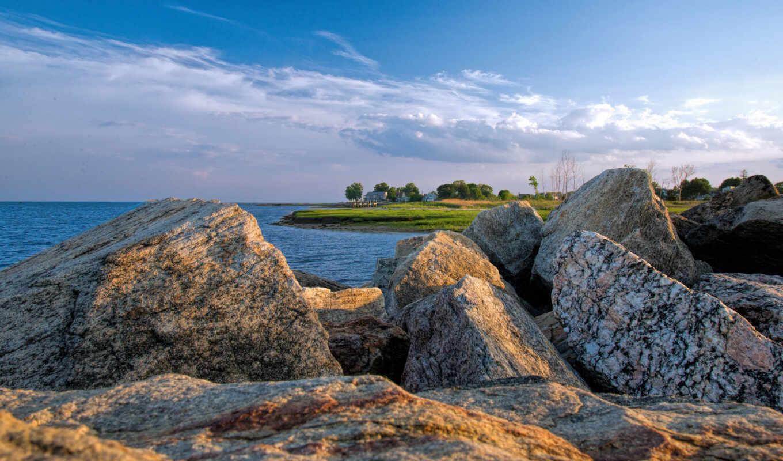 море, природа, горизонт, камень, square, klippe, inch, monthly, стена, marine, browntrout