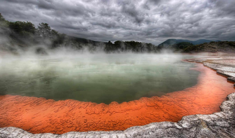 вулканы, springs, есть, hot, радуга,