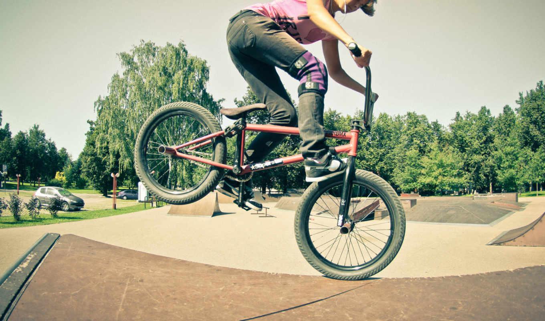 bmx, девушка, freestyle, велосыпед,