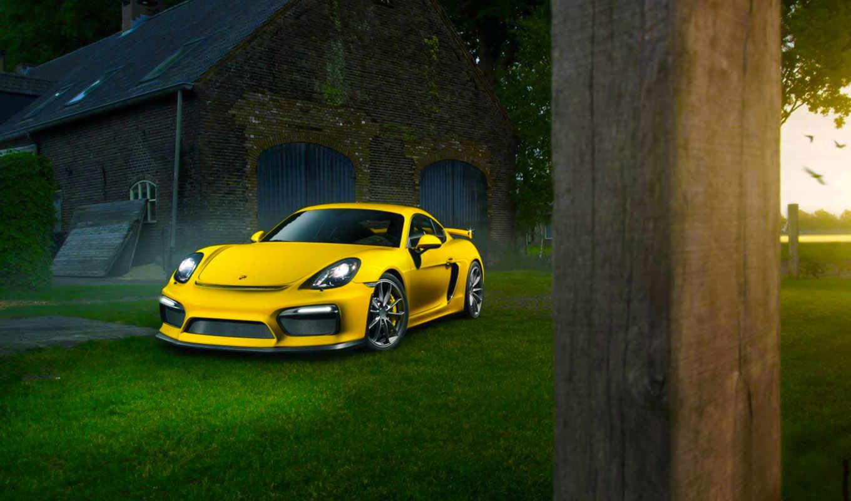 porsche, cayman, yellow, car, color, desktop,