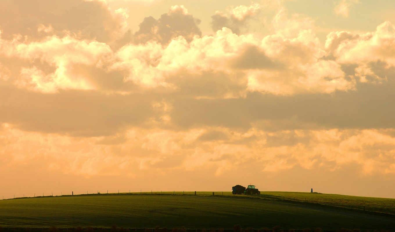 облака, небо, wallpapers, wallpaper, поле, nature, поля, день, трактор, розовое, прекрасный, урожая, сельскохозяйственные, сбор,