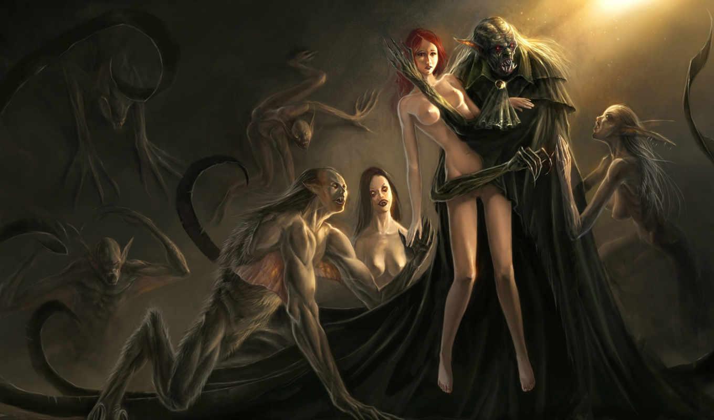 вампиры, упыри, девушка, носферату, жертва, sin, abyss, eternal, похожие, номером, смотрите, экрана, монитора,