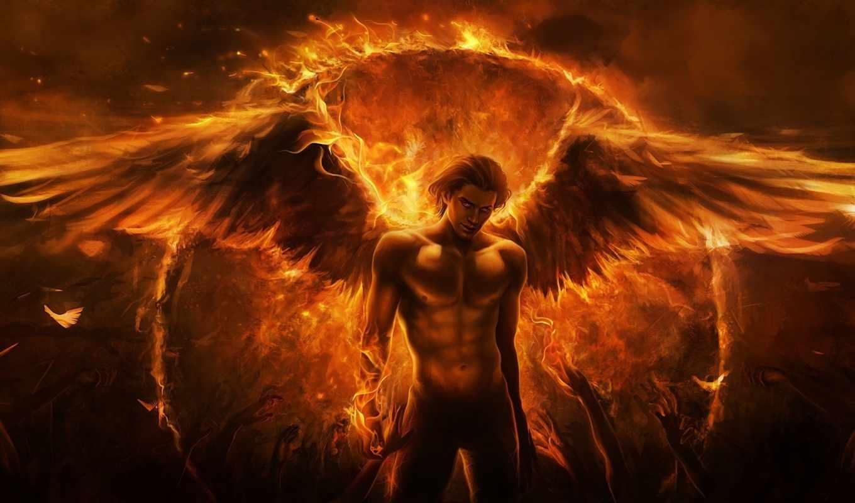 крылья, ангел, огонь, парень, демон, руки, магия, арт, imaliea, картинку, картинка, кнопкой,