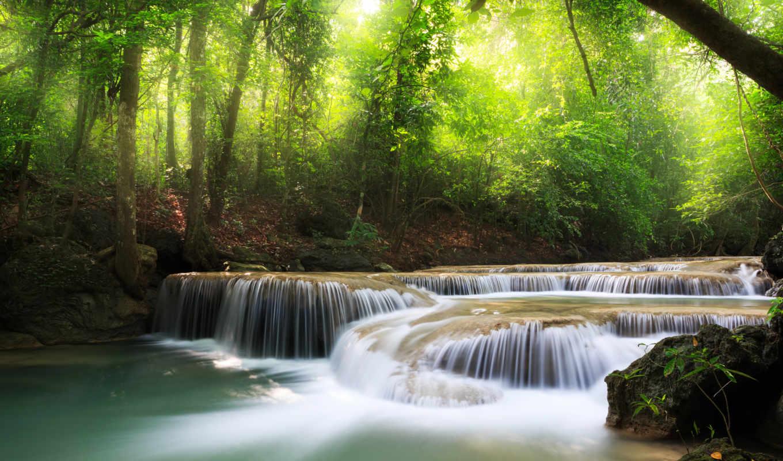 trees, lake, deep, landscape, forest, sky, clouds, sea, waterfall, картинка, картинку,