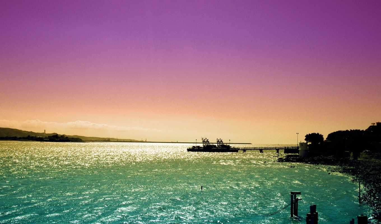 море, закат, корабль, небо,