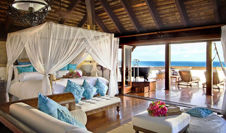 интерьер, стиль, спальня, hotel, море, кровать,