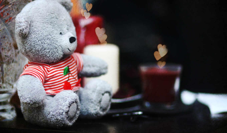 love, сердечки, свечи, мишка, хорошо, teddy,