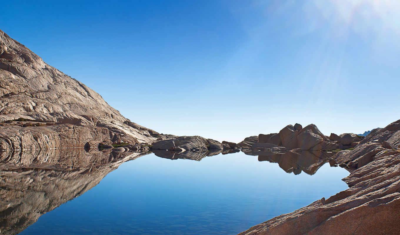 озеро, горное, природы, шикарные, утром,