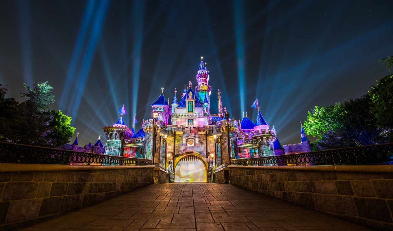 castle, disneyland, спать, красавица, ночь, disney, california, anaheim, kalifornii, город