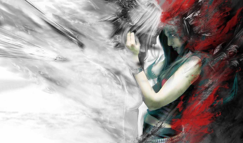 девушка, абстракция, две, devotion, photos, линии, сборник, profile, pictures, cool, fantasy, angels, девушки, photo,