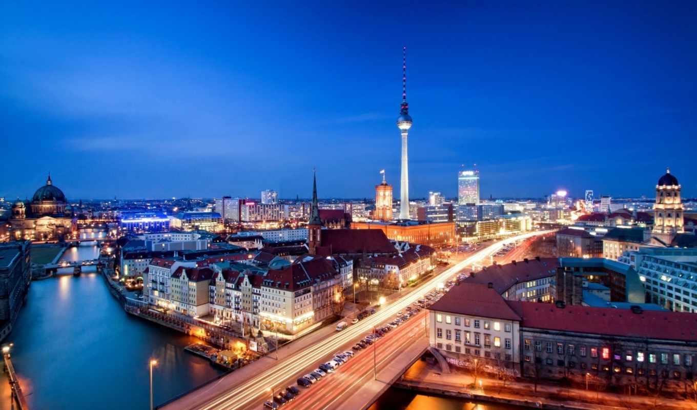 berlin, germany, deutschland, city, alexanderplatz, capital, панорама, александерплац, дорога, телебашня, ночь, вечер, дома, здания, архитектура, река, шпрее, машины,