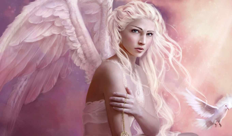 девушка, ангел, волосы, белые, готичные,