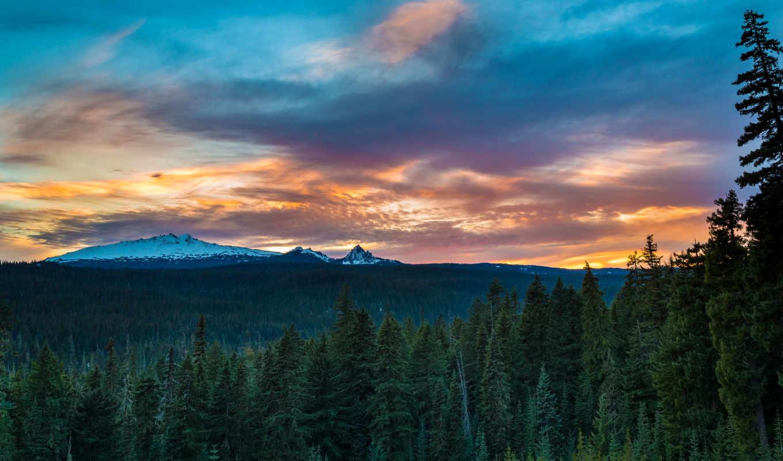 ,desktop, лес, горы, небо,