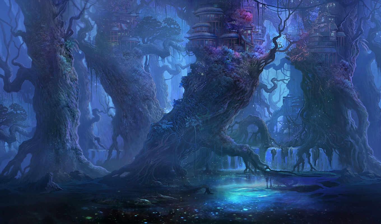 фэнтези, лес, эльфийский, домики, вечер, yipo, картинка, gao,