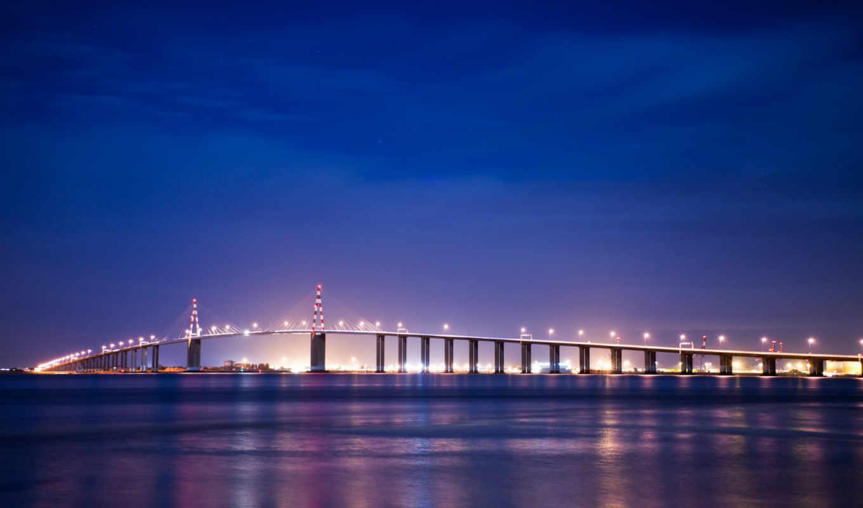 франция, бретань, мост, ночь, огни,