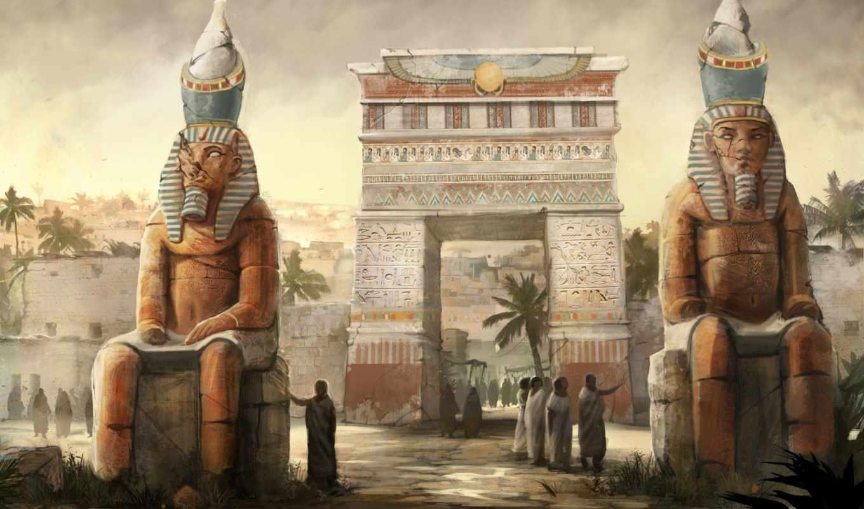 египет, арка, арт, люди, живопись, статуи, город,