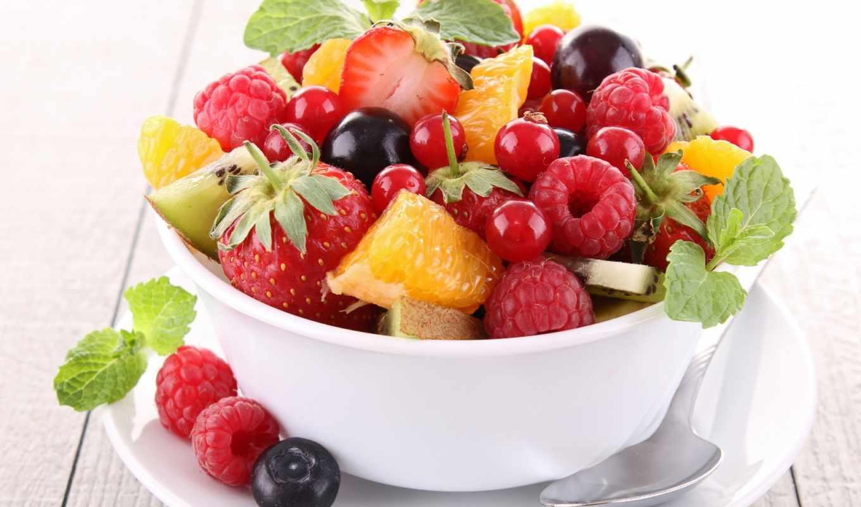 ягоды, фрукты, малина, салат, черника, киви, клубника, еда,