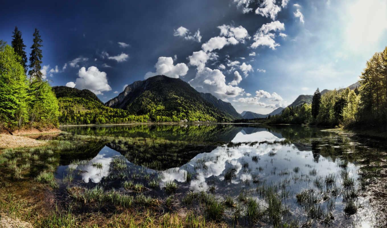весна, landscape, трава, облака, горы, лес, природа, небо,