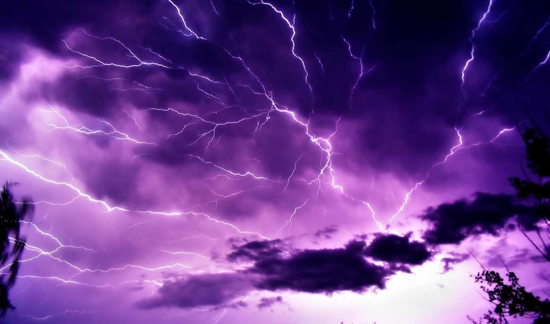 молния, молнии, небо,