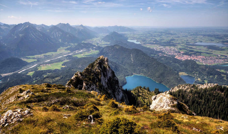 горы, вид, леса, природа, долина, winter, снег,