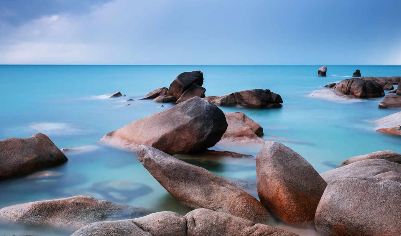 море, камни, гладь, небо, берег, пляж,