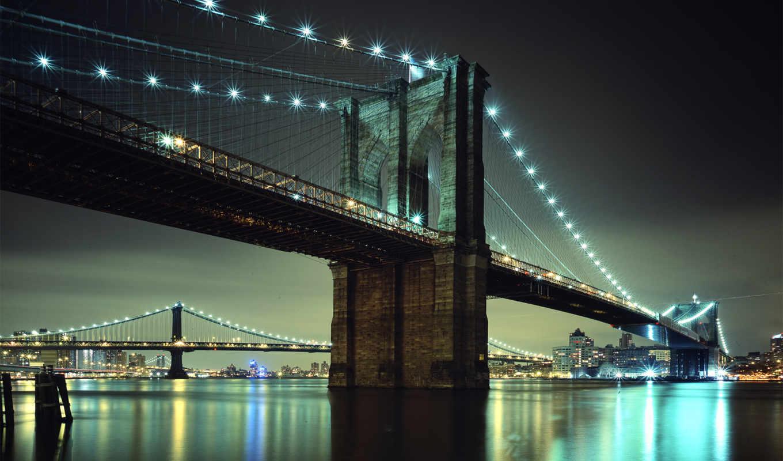 мост, бруклин, огни, ночь, город, new, york, manhattan, метров,